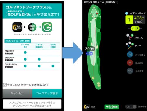 GOLFな日Su ゴルフネットワークプラスとの連携画面